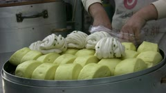 Packing Chinese buns Stock Footage