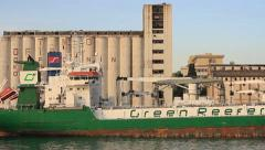 Green Reefer Ship Stock Footage