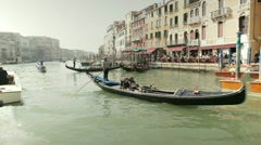 Gondolas and gondoliers in Venice Stock Footage
