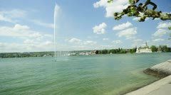 Lake Bodensee view to Konstanz Stock Footage
