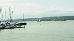 Sailing ships and ferries at lake Bodensee Germany Stock Footage