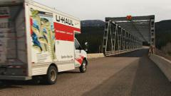 Uhaul Truck Heading South over Stikine River Bridge Stock Footage