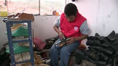 Peru: Young Man Makes Shoes Stock Footage
