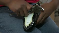 Peru: Young Man Makes Shoes, Close Up Stock Footage