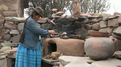Peru: Cooking on an Outdoor Stove Stock Footage