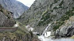 Alpine river near Devil's Bridge. Stock Footage