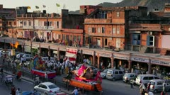 Traffic congestion, Jaipur, India - stock footage