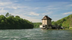 The castle Worth on the Rhine Falls. Northern Switzerland . - stock footage