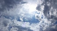 Stock Video Footage of The thunderstorm clouds and sun time lapse