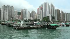 Overview of Aberdeen harbor and skyscrapers in Hong Kong Stock Footage