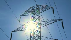 Electricity Pylon and Sun TL 01 Stock Footage