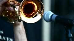 A man playing on trumpet - stock footage