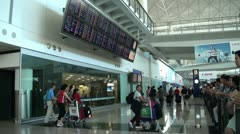 Arrival hall at Hong Kong International Airport - stock footage