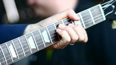 A guitar in live action at a concert - close up Stock Footage