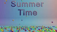 Colorful Objects Falling and Summer Time text Stock Footage