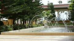 Fountains in lobby of nice resort Stock Footage