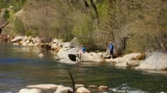 Father & Daughter Fishing On Stanislaus River Stock Footage