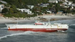 Stranded Ship Full frame, Clifton Beach from Bantry Bay - stock footage