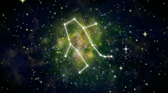 Zodiac 12 constellation galaxy front Stock Footage