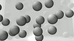 Golf ball animation filling up spaces. matte included. Stock Footage