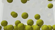 Tennis ball animation filling up spaces. matte included. Stock Footage