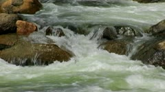 Stanislaus River Water Rushing Over Rocks Stock Footage