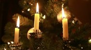 Three christmas tree candles Stock Footage