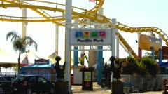 Santa Monica Pier- Pacific Park Entrance Stock Footage