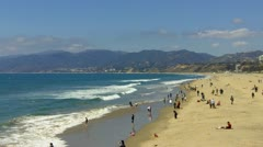 Santa Monica State Beach Northward View Stock Footage