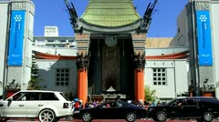 Grauman's Chinese Theater Entrance With Tourists Stock Footage