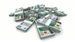 Falling PLN Packs - Realistic Stock Footage