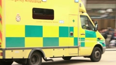 Ambulance with flashing lights, london Stock Footage
