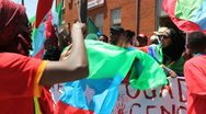 Stock Video Footage of Camp David G8 Summit 2012 Thurmont Maryland May 19, 2012 Ethiopian Protesters