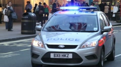 Police car with flashing lights, london Stock Footage