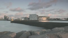 Stock Video Footage of Harpa - Sunset timelapse