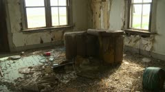 abandoned farm house, interior, living room, creepy and unhealthy - stock footage