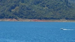 Boat On New Melones Lake Near Sonora CA - stock footage