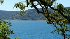 Boat On New Melones Lake Near Sonora CA Zoom In - stock footage