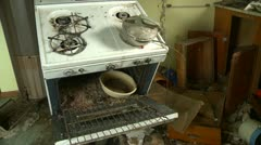abandoned farm house interior pan in kitchen, creepy - stock footage