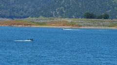 Two Speeding Boats On New Melones Lake Near Sonora CA Stock Footage