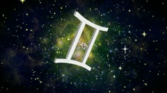 Zodiac 12 constellation symbol galaxy  front Stock Footage
