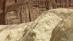 Death Valley National Park - Red Cathedral Cliffs from Golden Canyon Trail Stock Footage