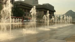 Beautiful city fountain at sunset Stock Footage