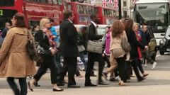 Stock Video Footage of pedestrian crowd, oxford street, london