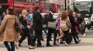 Pedestrian crowd, oxford street, london Stock Footage