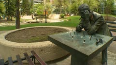 The chess player, statue Stock Footage