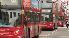 Row of london buses, oxford street Stock Footage