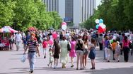 A lot of people in park Sokolniki at summer day Stock Footage