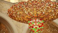 Chandelier in Sheikh Zayed Mosque Abu Dhabi Stock Footage