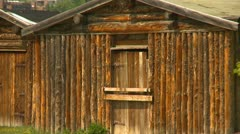 Fort Calgary log building recreation, zoom Stock Footage